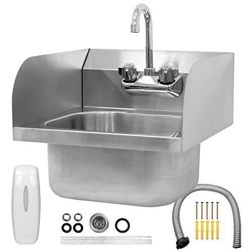 ECD Germany Handwaschbecken mit dreiseitiger Aufkantung und Schwenkhahn - 42 x 42 x 46 cm - aus Edelstahl - Volumen 15 L - inkl. Seifenspender - Gastro Waschbecken Spülbecken Wandbecken Wand Becken