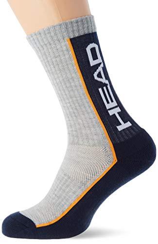Head Performance Crew Socks (3 Pack) Calcetines de tenis, Gris/Azul Marino, 35/38...