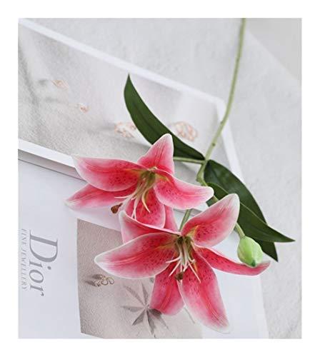 JiaQinHe Restos Flores Flor del Lirio de Platic Artificial for el hogar decoración de la Tabla Blanca Flores Artificiais falsificación Flor Nunca (Color : E)