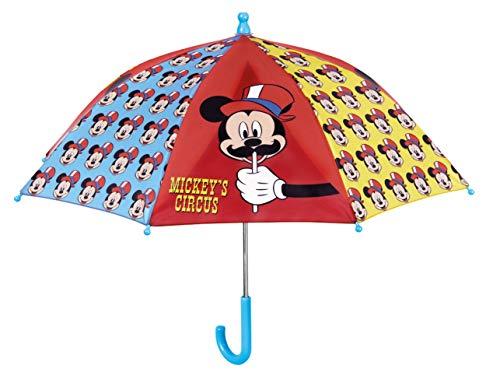 Perletti Parapluie Enfant - Mickey Cirque Regenschirm, 40 cm, Rot (Rouge)