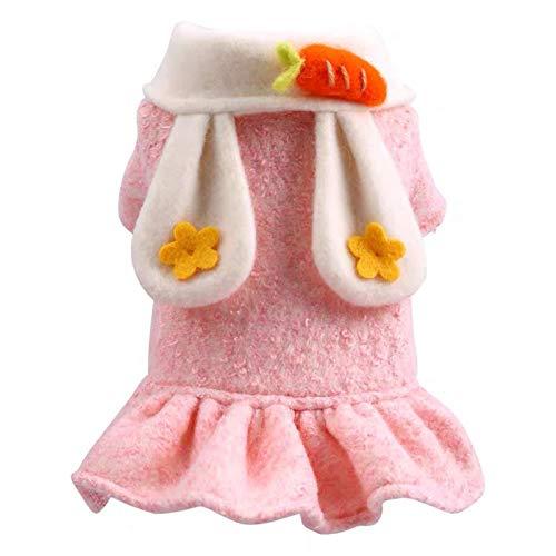 Uticon Falda de felpa para cachorros y mascotas, para perros, orejas de conejo, cuello vuelto, falda para disfraz de otoño e invierno, rosa M