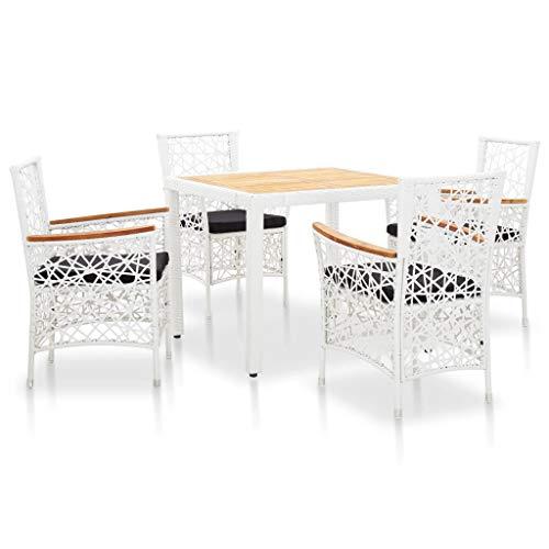 vidaXL Gartenmöbel 5-TLG. Gartengarnitur Sitzgruppe Sitzgarnitur Gartenset Gartentisch Tisch Stühle Poly Rattan Weiß Holz-Tischplatte