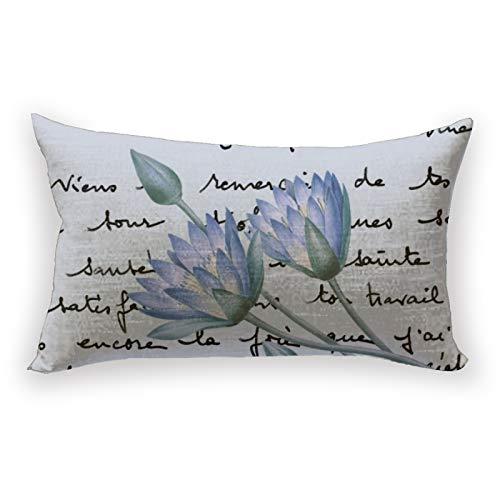 Hustor Blue Lotus Redouté - Funda de almohada para sofá, cama, coche, 12 x 20 pulgadas