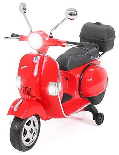 Actionbikes Motors Kinder Elektroroller Vespa PX150 - Lizenziert - 2x18 Watt Motor - Eva Vollgummi Reifen (Rot)