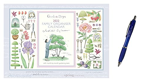 Judith Glover Garden Days Family Organiser Week to View A4 Calendar 2022 + Exclusive Limited Edition Diary Pen