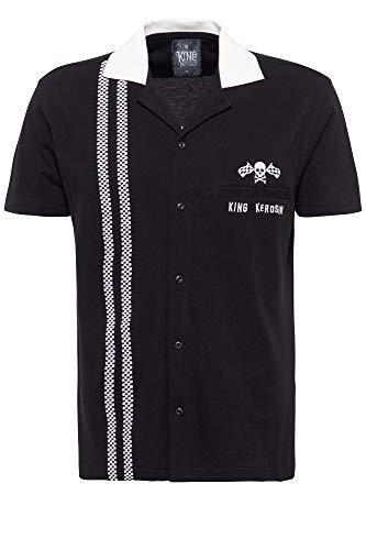 King Kerosin Camisa de manga corta para hombre, polo de carreras de bolos. Negro XXXXXL