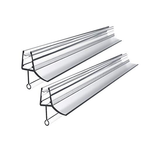 WELMAX 2 x 80cm PVC Duschdichtung Duschtür Glasstärken von 4-6mm   Transparent Dichtung Ersatzdichtung mit Wasserabweiser für Duschkabine & Glastüren