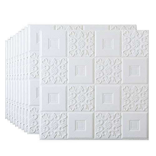 DSJMUY 3D Wand-Verkleidungen, Wandaufkleber Stereo Wandtattoo Papier Abnehmbare selbstklebend Tapete DIY Selbstklebendes für Schlafzimmer Wohnzimmer Moderne Hintergrund TV-Decor 70x70cm (10 Stück)