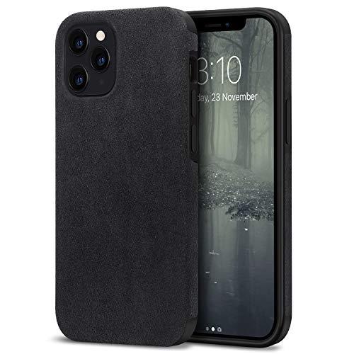 TENDLIN Cover iPhone 12 PRO Max Fatta di Materiale Alcantara Custodia Hybrid in TPU Silicone Compatibile con iPhone 12 PRO Max (Nero)