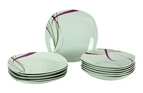 Van Well Tafelservice Fashion 12tlg. leicht eckig Porzellan für 6 Personen weiß mit Liniendekor