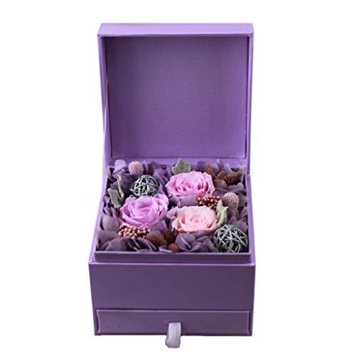 SHJICH Ewige Blume, Schmuckschatulle, Schmuck-Geschenkbox, Geschenk zum Valentinstag