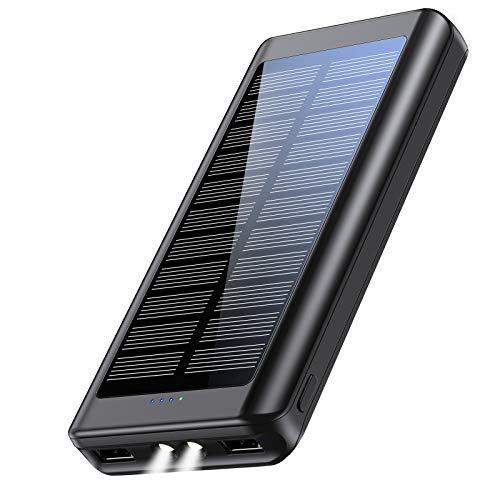 【モバイルバッテリー ソーラー&2021年最新版&PSE認証済】Zonhood 30000mAh ソーラーモバイルバッテリー 大容量 軽量 ソーラーチャージャー ソーラー充電器 スマホ充電器 可長時間稼働LEDライト付き 旅行/出張/緊急用 防災グッズ iPhone/iPad/Android各種他対応 (ブラック)