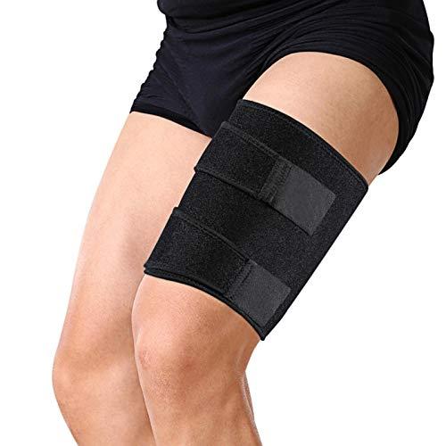 Vendaje de muslo, soporte de muslo, compresión de vendaje de muslo desgarrado de isquiotibiales con cierre de velcro y correa antideslizante para aliviar el dolor del nervio ciático y del muslo