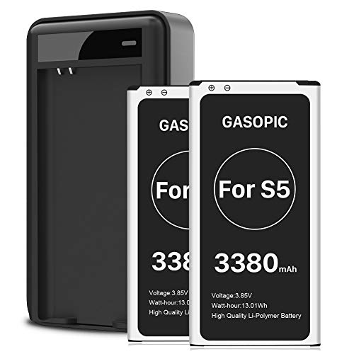 Galaxy S5 Battery, 3380mAh Upgraded Galaxy S5 Replacement Battery Li-Polymer Internal Battery for Samsung Galaxy S5 All Versions [2 Battery + Charger,24 Month Warranty]