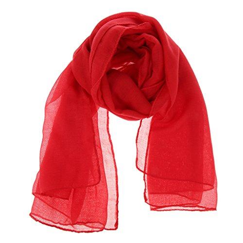 D DOLITY Pañuelo Musulmán Bufanda Larga de Cabeza Cuello Fular de Viscosa Elástica para Mujer Señora - rojo, como se describe