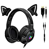 Yilin Gaming-Headset Black with 3.5mm Audio Adapter, Niedliches...