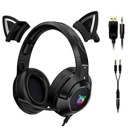 GUANGE PC-Gaming-Headset mit 4D-Stereo-Surround-Sound, Geräuschunterdrückung über Ohrkopfhörer mit Mikrofon und LED-Licht, Gaming-Kopfhörer mit abnehmbaren Katzenohren, Schwarz