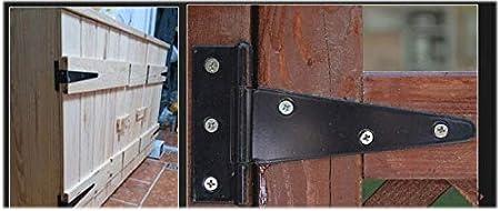 Fpz 2pcs 4 Inch Heavy Duty T-Strap Strap Shed Hinge Gate Strap Hinge Door Barn Gates Hinges Black Wrought Hardware Iron Rustproof 4inch