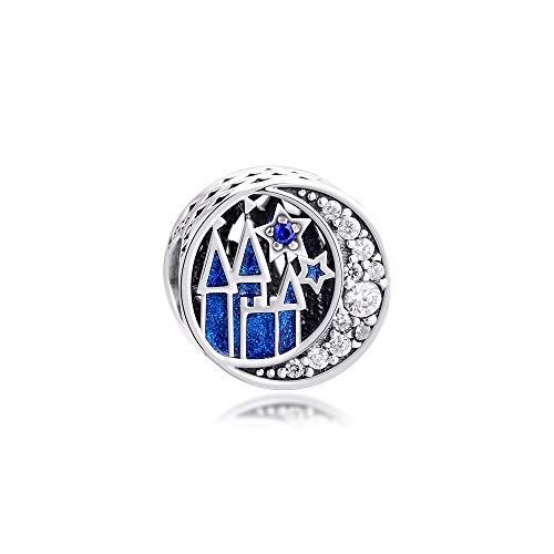 LILANG Pulsera de joyería Pandora 925, se Adapta a Las Cuentas del Cielo Nocturno Vintage con Esmalte Azul, Encanto de Plata esterlina para Mujeres, Regalos de Bricolaje