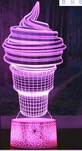 Jinson well Lámpara de helado 3D, ilusión óptica, luz nocturna, 7 cambios de color, interruptor táctil, mesa de escritorio, lámpara decorativa, lámpara perfecta con acrílico plano USB juguete