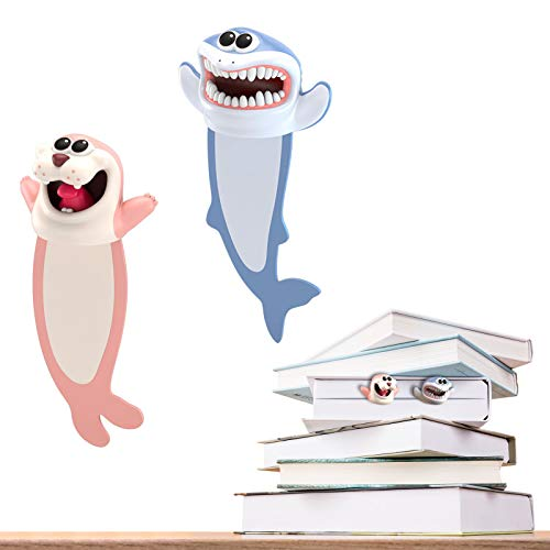 Wacky Bookmark Funny Bookmarks, 3D Squashed Animal Bookmark Novelty Funny Stationery Gifts for Kids, Book Lovers, Boys, Girl, Readers Book Lovers(Sharks+Seals)