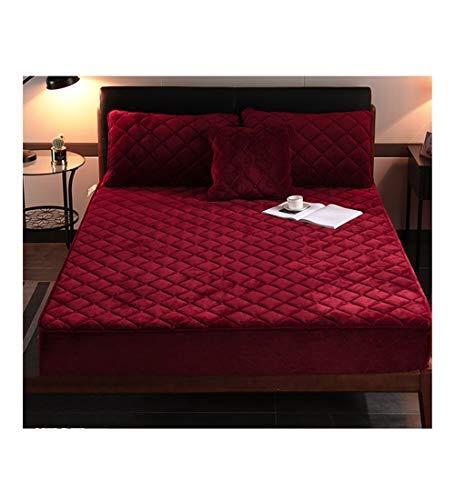 XZ15 Colcha Individual espesante colchón Caja Protectora Hojas de ficha de Banda elástica (Color : Red, Size : 90X190CM/5-15CM)
