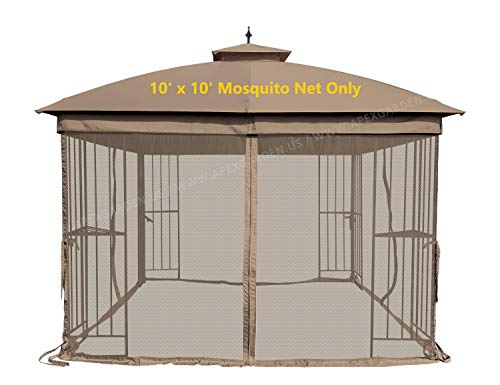 APEX GARDEN Universal 10' x 10' Mosquito Netting for Gazebo Replacement- Tan
