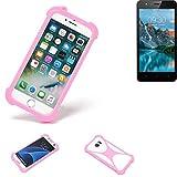 K-S-Trade® Handyhülle Für TP-LINK Neffos C5A Schutzhülle Bumper Silikon Schutz Hülle Cover Case Silikoncase Silikonbumper TPU Softcase Smartphone, Pink (1x)