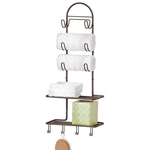mDesign Sistema de almacenaje con 2 baldas y 10 ganchos – Estante de pared en metal para organizar el baño, la cocina o el pasillo – Útil organizador de baño para productos de belleza – color bronce
