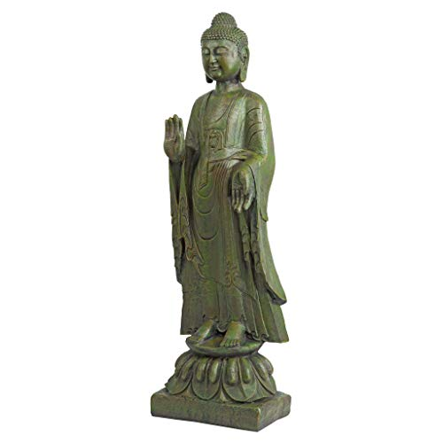 Design Toscano JE142050 Enlightened Buddha Asian Decor Garden Statue, 40 Inch, Bronze Verdigris Finish