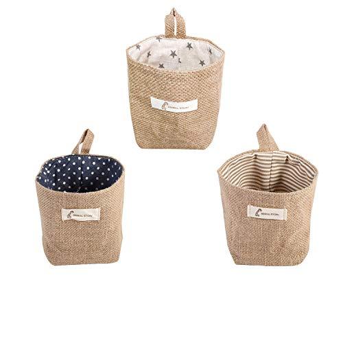 3 Pcs Bolsa de Almacenamiento para colgar, Lino y algodón bolsa de almacenamiento cesta plegable bolsa de almacenamiento cesta con asa, algodón, lino, cesta de almacenamiento plegable (14 * 13 cm)