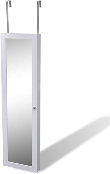 Hanging Wall Jewelry Cabinet Bedroom Door Storage Organizer With Mirror And 7 Compartments White
