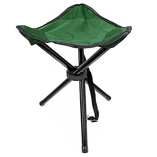 Camping Hocker Falthocker Angelhocker Inkl. Tragegurt Campingstuhl Dreibeinhocker 110kg Campinghocker Faltbar (Grün)