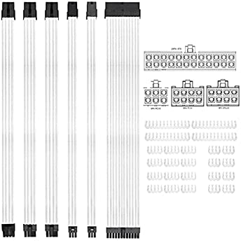 Braided ATX Sleeved Cable Extension Kit for Power Supply Cable Kit PSU Connectors 24 Pin 8 Pin 6 Pin 4 + 4 Pin 6 Pack with Cable Comb 24 Pieces Set 24-Pin 8-Pin 6-Pin  White