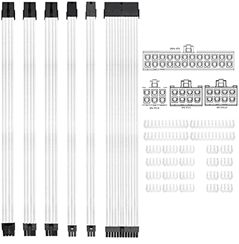 KOTTO Braided ATX Sleeved Cable Extension Kit for Power Supply Cable Kit, PSU Connectors, 24 Pin, 8 Pin, 6 Pin 4 + 4 Pin, 6 Pack, with Cable Comb 24 Pieces Set 24-Pin, 8-Pin, 6-Pin (White)