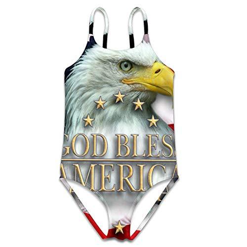 God Bless American Bald Eagle Bañador de una pieza para niñas traje de baño de playa S