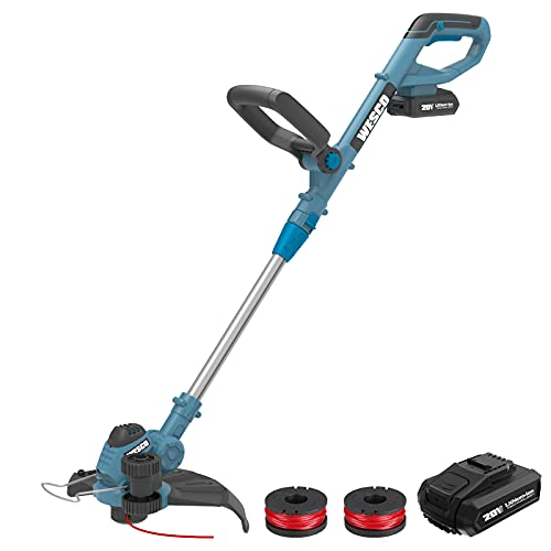 Cordless String Trimmer/Edger/Mini-Mower 20V 12 Inch WESCO Cordless Grass Trimmer, 180° Adjustable Handles, 90° Head Pivots, 2.0Ah Battery and Charger Included