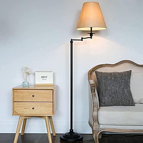 KFJZGZZ Columpio al aire libre para niños moderno brazo oscilante lámpara de pie pantalla de tela con bandeja de metal diseño lectura ideal dormitorio sala de estar