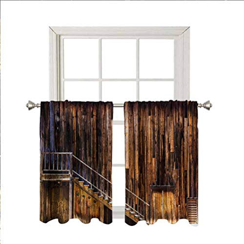 Western Window Valance Curtains,Gold Rush Town in States Thermal Insulated Short Straight Drape Valance for Living Room Kitchen Bedroom,Rod Pocket,Matching with Curtain Panels,42 x 36 Inch, 2 Panels