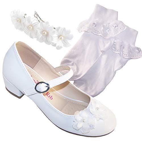 Juego de calcetines de comunión para niñas y niños, de tacón bajo, para bodas, damas de honor y primera comunión, color Blanco, talla 28 EU
