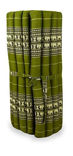 livasia Asia WOHNSTUDIO ROLLMATTE, Kapok Rollmatte in 190cm x 75cm x 4,5cm der Marke Asia Wohnstudio; Liegematte BZW. Yogamatte, Thaikissen, Thaimatte als asiatische Rollmatratze, (Grün/Elefant)