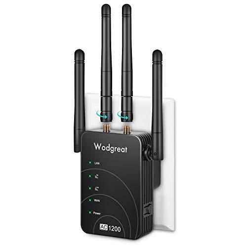 Wodgreat Ripetitore WiFi AC1200 Wireless WiFi Extender Dual Band 5GHz/2.4GHz Amplificatore WiFi Ripetitore/Router/Access Point modalità, 2 Porte Ethernet, Booster WiFi per Tutti i Modem Router (Nero)