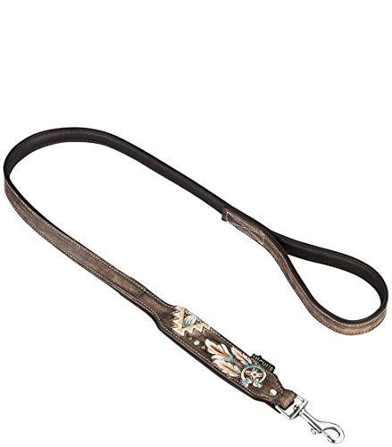 MICHUR Halona Hundeleine Leder, Lederleine Hunde, Leder, Falchleine, Schwarz Braun Gr. 120cm x 2,5cm, passend zum Halsband Halona