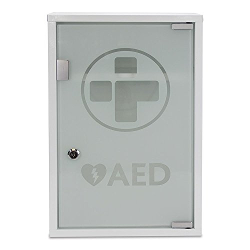 Reliance Medical 3098 Alarmed AED Metal Wall Cabinet, Metal/Glass