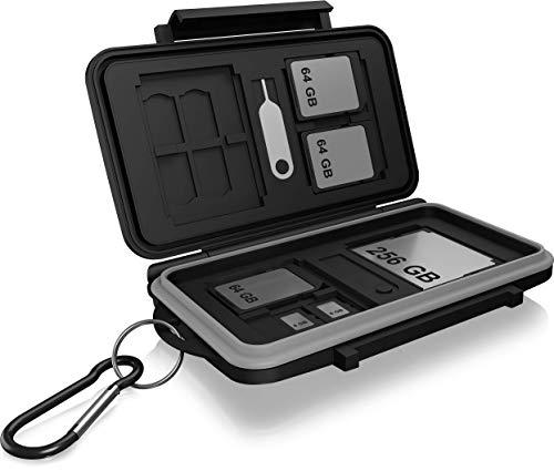 ICY BOX SD Karten Aufbewahrung für 28 Speicherkarten (8X SD, 16x Micro-SD, 4X CF), Klippverschluss, Case mit Karabinerhaken, schwarz