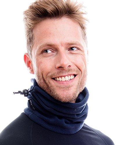 Hilltop Polar Multifunktionstuch/Motorradmaske/Skimaske/Kälteschutz/Gesichtsmaske/Halswärmer/Polar Halstuch mit Kordelzug 100% Fleece, Design/Farbe:Dunkel Blau