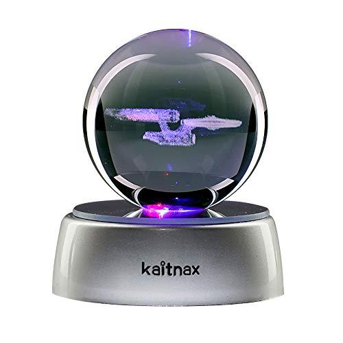 Kaitnax 3D-Kristall-Kugel-Lampe, Lasergravur, Bild in der Kugel, LED-Farbwechsel-Sockel Star Trek Star Trek
