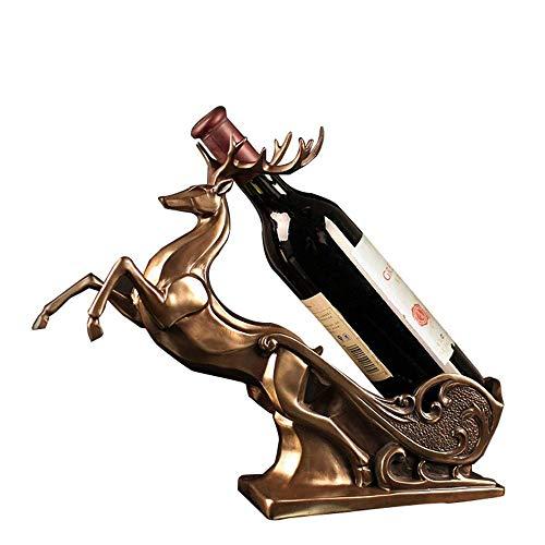 HYY-YY Familia Europea vino estante ciervo vino estante bandeja vino decoración hogar regalo decoración resina gabinete vino artesanía arte moda para el hogar