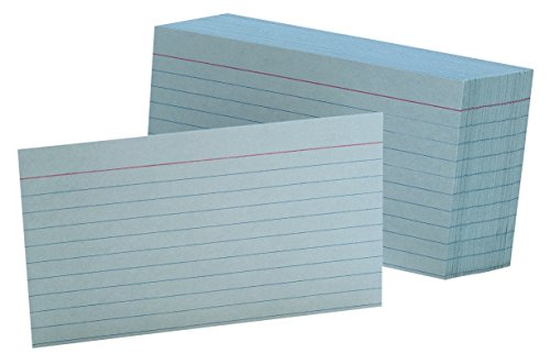 "Oxford Ruled Color Index Cards, 3"" x 5"", Blue, 100 Per Pack (7321 BLU)"