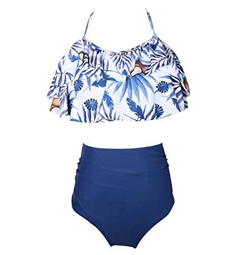 Bikini Talle Alto Cuello Halter Volantes Conjunto Bikinis con Relleno Mujer Niña Bañador Bandeau Push Up Dos Piezas Trajes de Baño Mujer Bañadores Señora Playa Trikini Biquini Cintura Alta Chica M